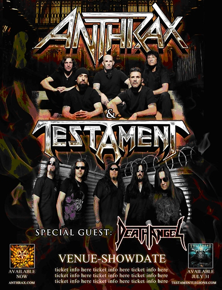 Anthrax Testament Death Angel Tour 2012 flyer
