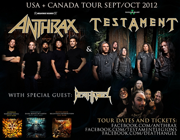 Anthrax, Testament and Death Angel U.S. &amp; Canada Tour 2012 flyer